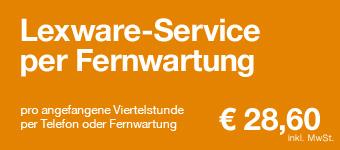 Lexware-Service per Telefon oder mittels Fernwartung (remote) pro angefangene Viertelstunde: € 24,40 (inkl. 19% MwSt.)