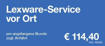 Lexware-Service bei Ihnen vor Ort pro angefangene Stunde: € 97,60 (inkl. 19% MwSt. / zzgl. Anfahrt)